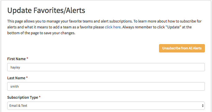 BigTeams Favorites Alerts