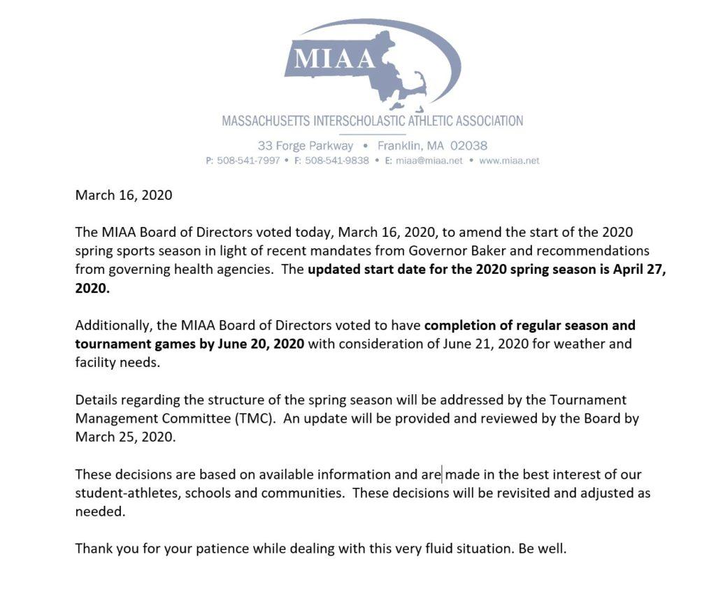 MIAA Update March 16
