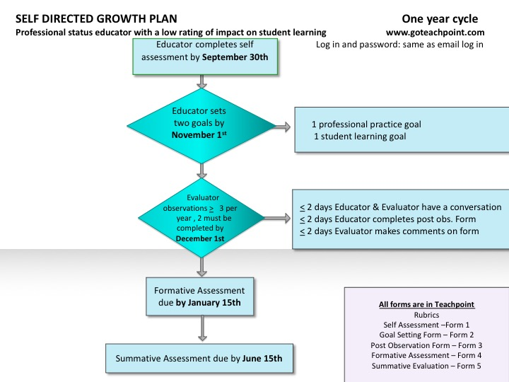 Self Directed Growth Plan One Year Cycle Flow Chart (same information as presented in the text above)