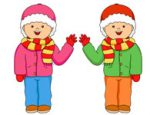 two twin boys wearing winter clothes clipart