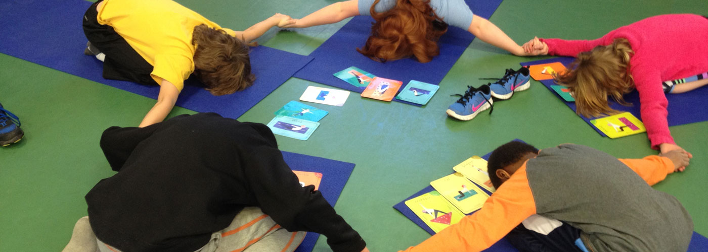 Hunnewell students on yoga mats