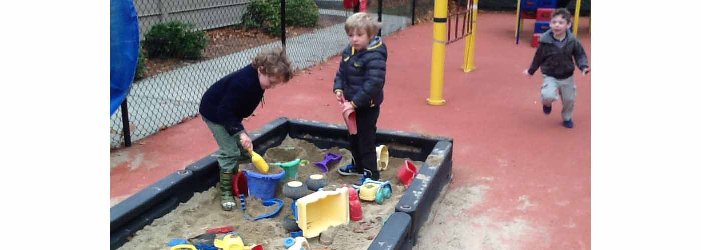 PAWS students in the sandbox