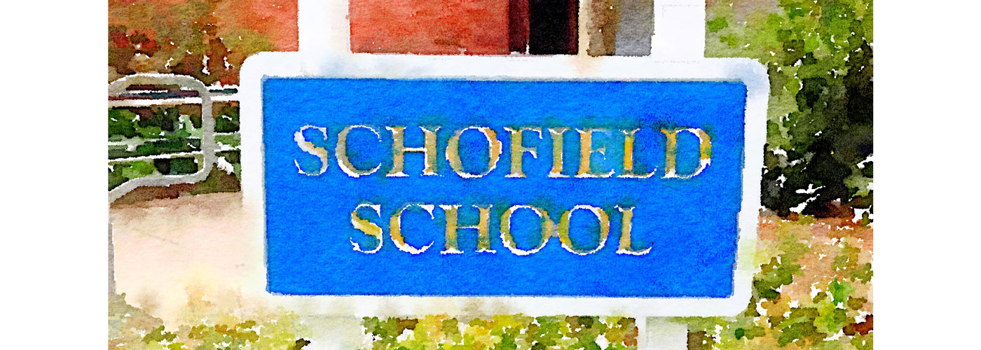 Watercolor of the Schofield School sign