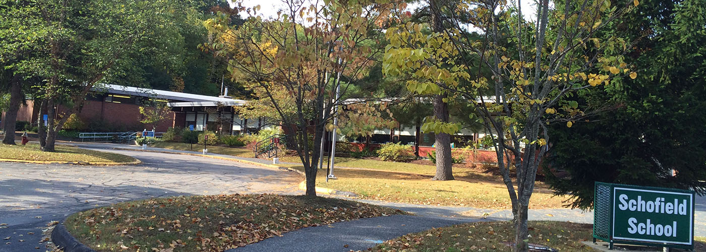 Schofield school exterior in autumn