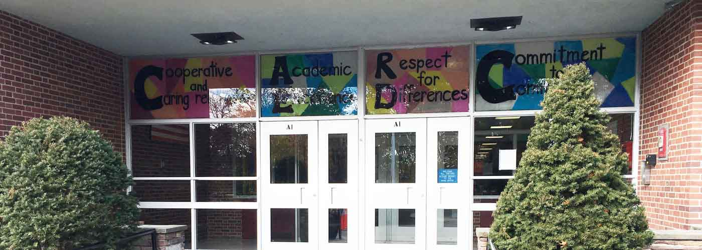 Upham School entryway with core values signs