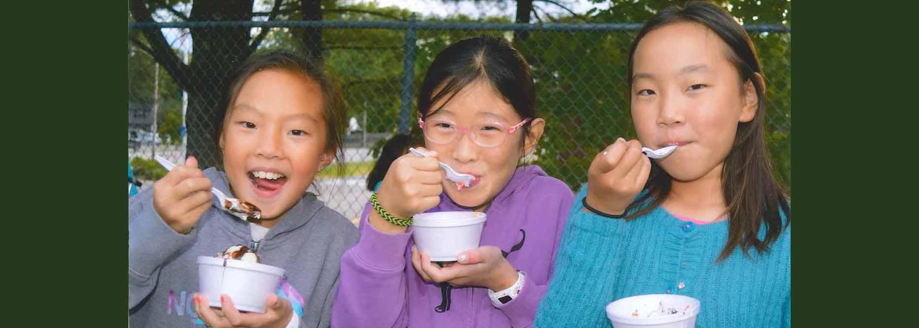 Three Upham Students Eating Ice Cream