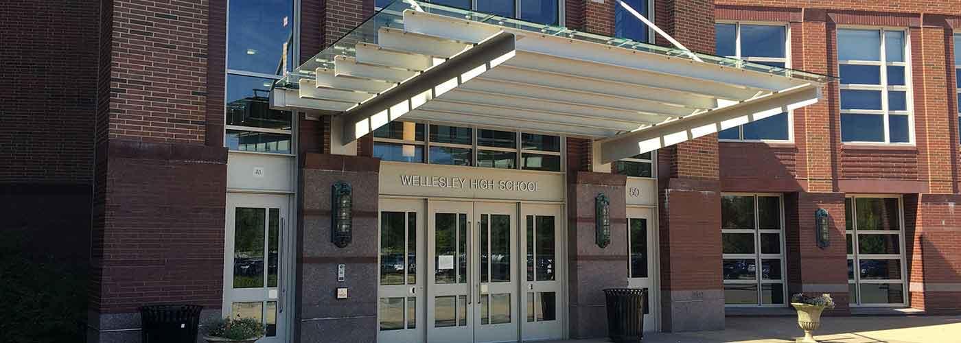 Wellesley High School front doors from exterior