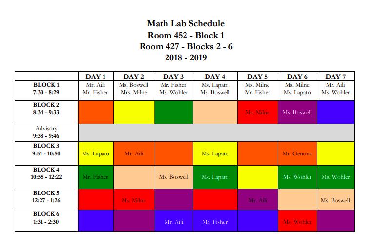 Math Lab Schedule