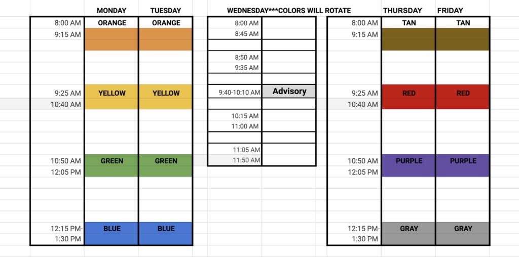 Weekly Schedule Return to School Guide
