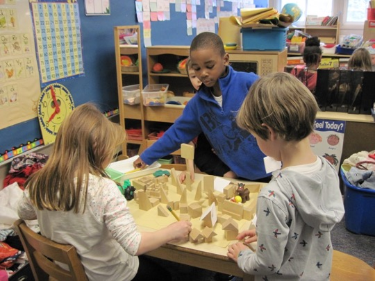 Kindergarteners learn about families and homes