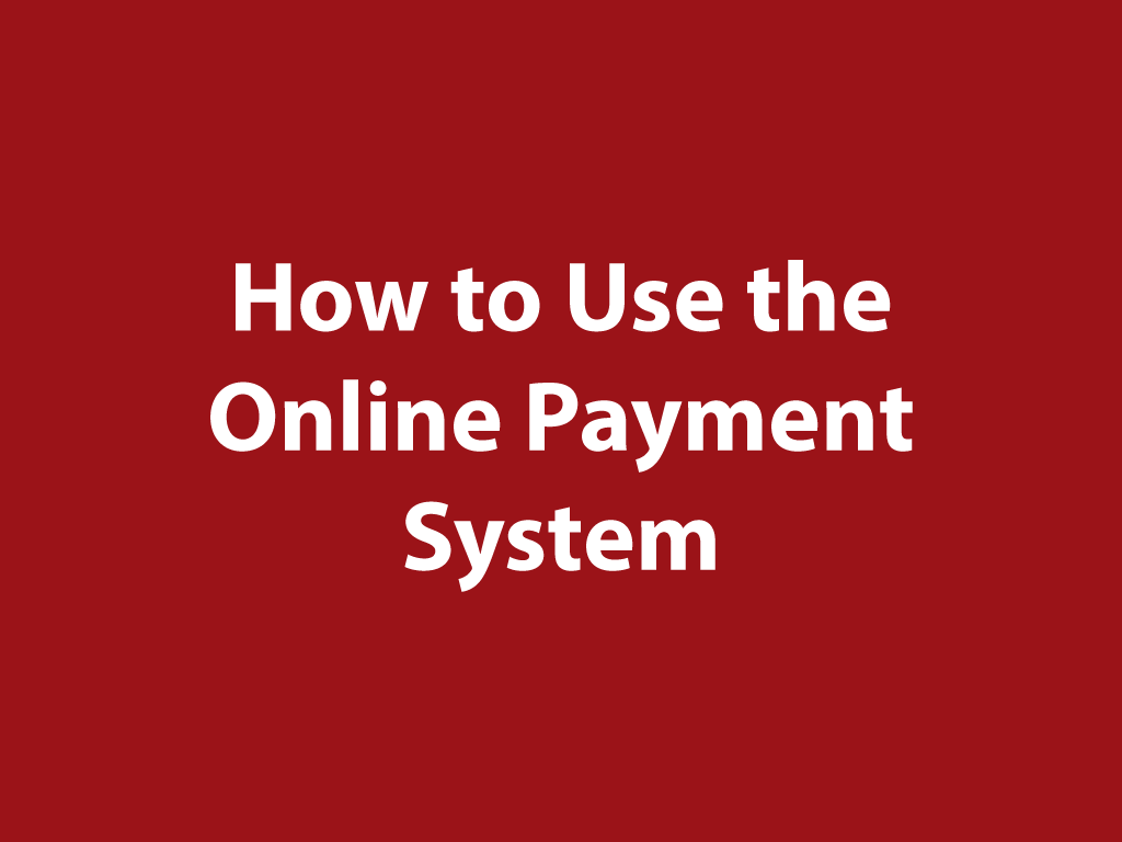 How to Use the Online Payment System