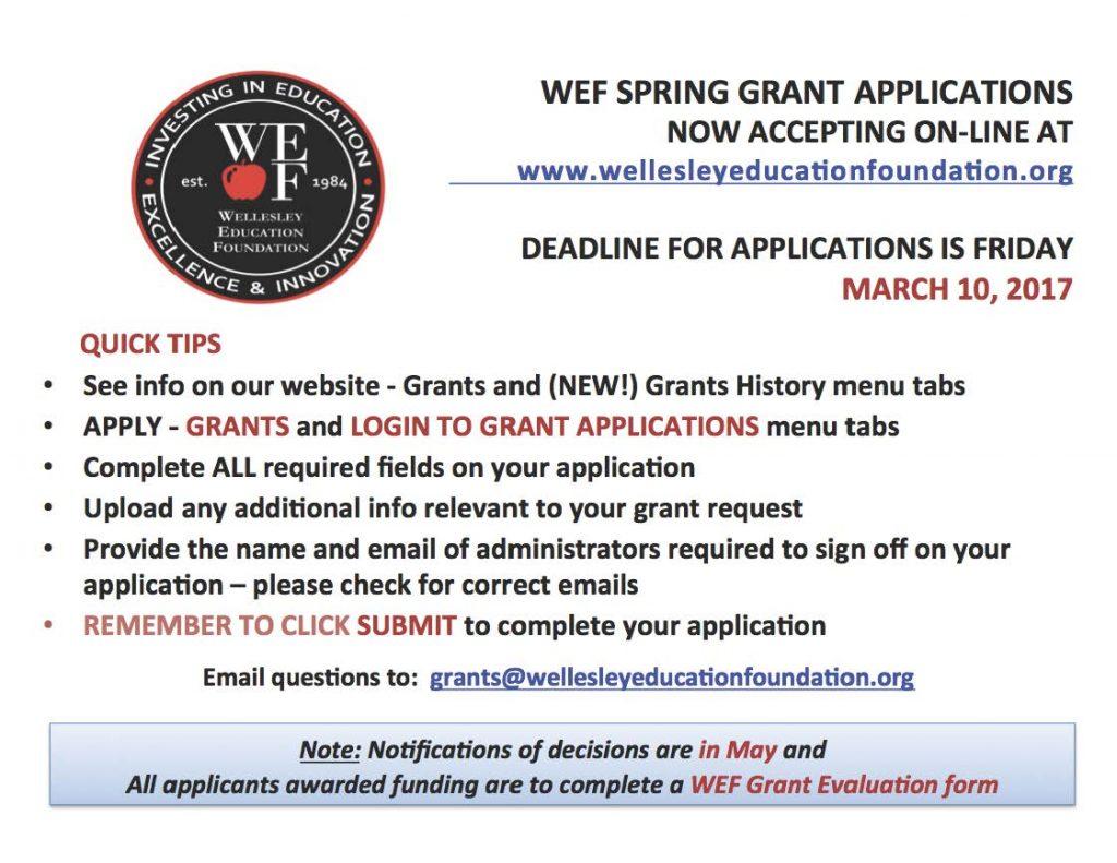 Spring WEF Grant Deadline 3-10-17