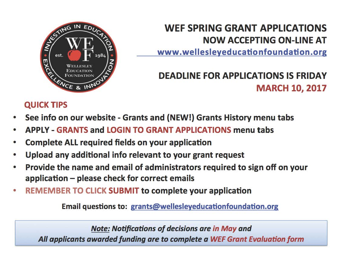 WEF Spring Grant Deadline Friday 3/10/17