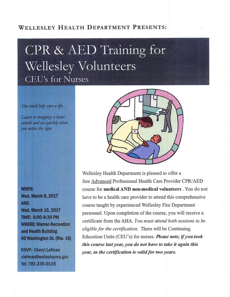 Wellesley Health Department presents CPR & AED Training for Wellesley Volunteers