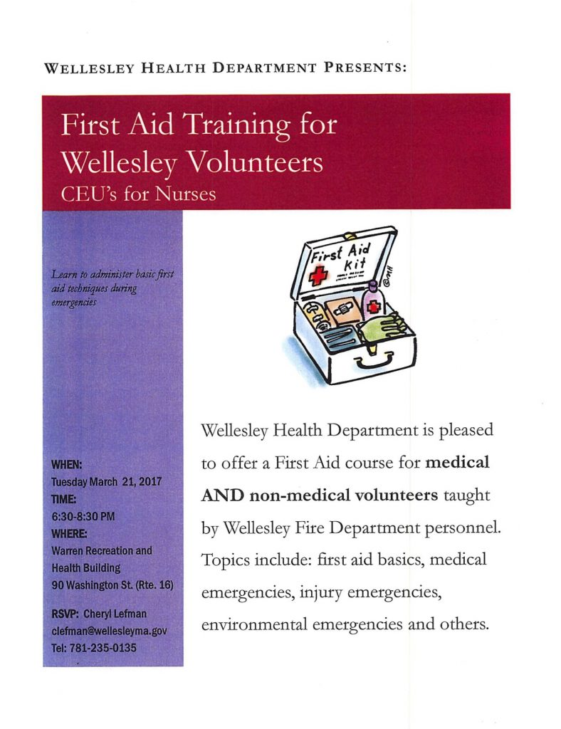 Wellesley Health Department presents First Aid Training for Wellesley Volunteers