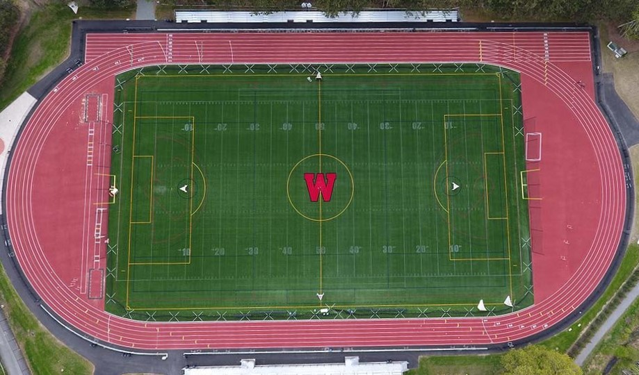 Aerial view of Hunnewell Track and Field